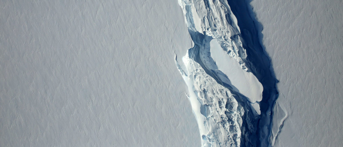 An aerial view of the rift in the Larsen C seen in an image from the Digital Mapping System over the Antarctica Peninsula, Antarctica, on November 10, 2016. NASA's Goddard Space Flight Center/Handout via REUTERS