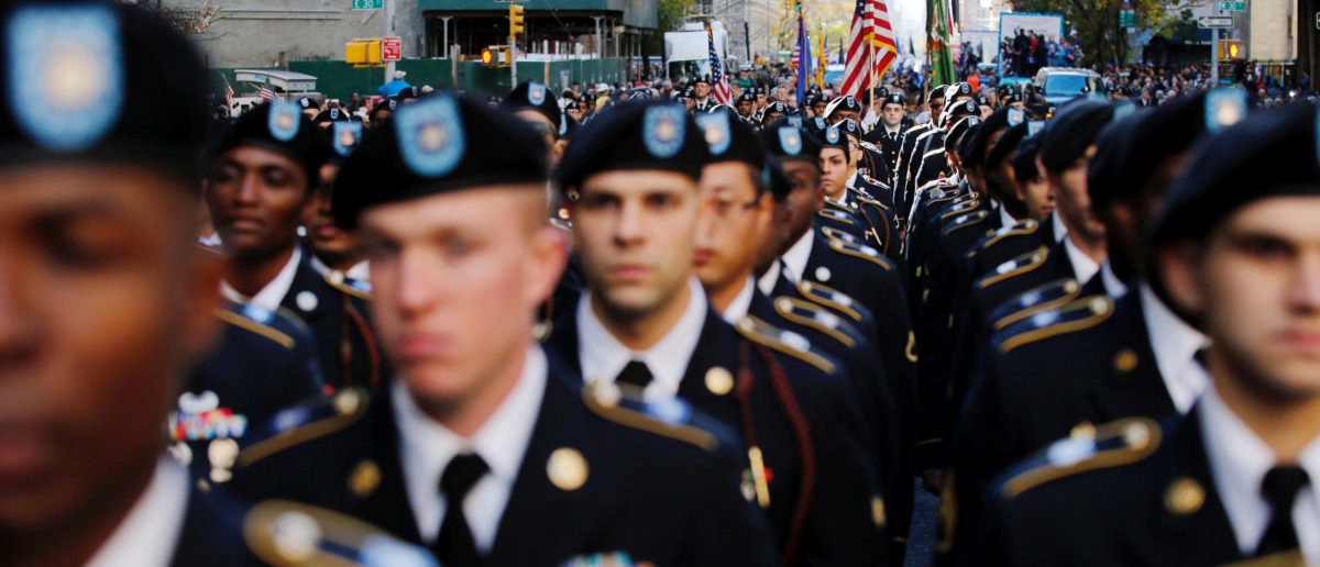 U.S. Army members march during the Veteran's Day parade in New York, U.S., November 11, 2016. REUTERS/Eduardo Munoz