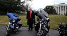 U.S. President Donald Trump and Vice President Mike Pence stands next to Harley Davidson motorcycles after meeting with Harley Davidson executives at the South Lawn of the White House in Washington U.S., February 2, 2017. (REUTERS/Carlos Barria)