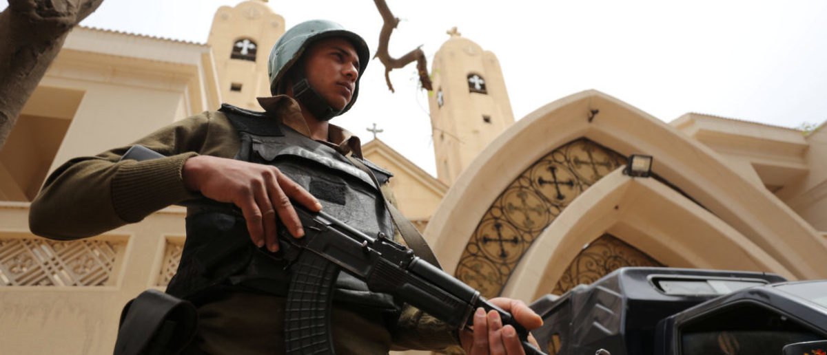 An armed policeman secures the Coptic church that was bombed on Sunday in Tanta, Egypt April 10, 2017. REUTERS/Mohamed Abd El Ghany - RTX34WSO