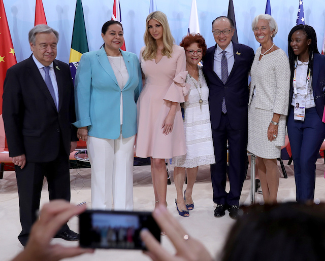 (L to R) United Nations Secretary-general Antonio Guterres, CEO of Holmarcom Group Meriem Bensalah, Ivanka Trump, director of Enda inter-Arabe, Essma ben Hamida, World Bank President Jim Yong Kim, International Monetary Fund (IMF) Managing Director Christine Lagarde, CEO of Quali Health, Nthabiseng Legoete attend the Womenís Entrepreneurship Finance event during the G20 leaders summit in Hamburg, Germany July 8, 2017. REUTERS/Michael Kappeler, Pool - RTX3ALM5