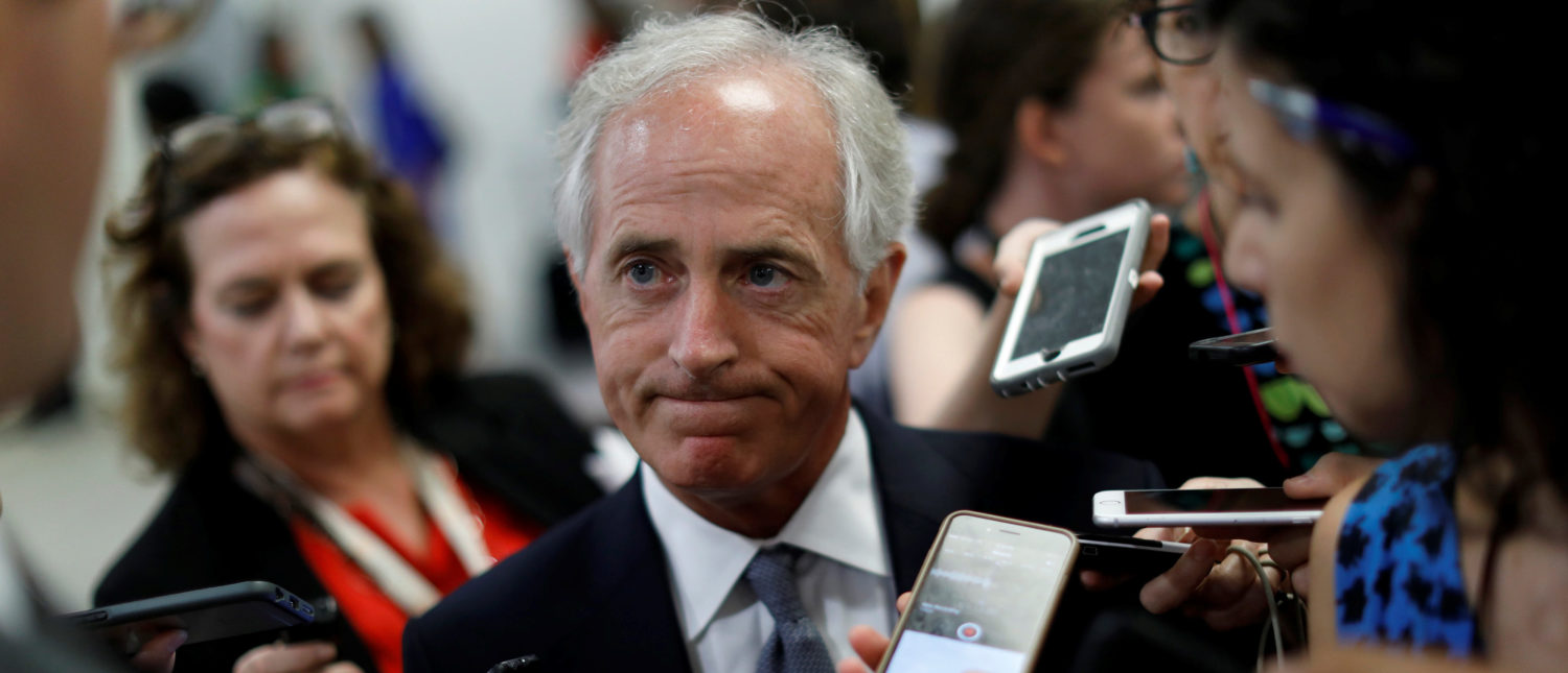 Senator Bob Corker (R-TN) speaks with reporters about the withdrawn Republican health care bill on Capitol Hill in Washington, U.S., July 18, 2017. REUTERS/Aaron P. Bernstein