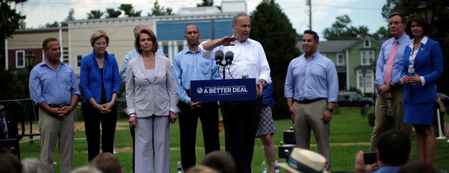 "(L to R) U.S. Rep. David Cicilline (D-RI), Sen. Elizabeth Warren (D-MA), House Minority Leader Nancy Pelosi (D-CA), Rep. Hakeem Jeffries (D-NY), Senate Minority Leader Chuck Schumer (D-NY), Rep. Ben Ray Lujan (D-NM), Sen. Mark Warner (D-VA), and Rep. Cheri Bustos (D-IL) unveil the Democratic party's ""A Better Deal"" for working Americans in Berryville, Virginia, U.S., July 24, 2017. REUTERS/James Lawler Duggan - RTX3CR1W"