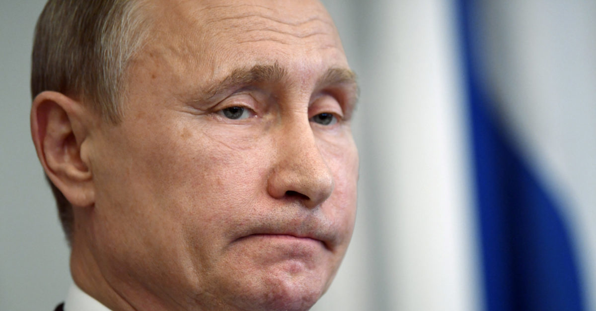 Russian President Vladimir Putin reacts during a joint news conference with Finnish President Sauli Niinisto, at the Hotel Punkaharju in Savonlinna, Finland, July 27, 2017. Lehtikuva/Martti Kainulainen/via REUTERS ATTENTION EDITORS - THIS IMAGE WAS PROVIDED BY A THIRD PARTY. NO THIRD PARTY SALES. NOT FOR USE BY REUTERS THIRD PARTY DISTRIBUTORS. FINLAND OUT. NO COMMERCIAL OR EDITORIAL SALES IN FINLAND. - RTX3D5I4