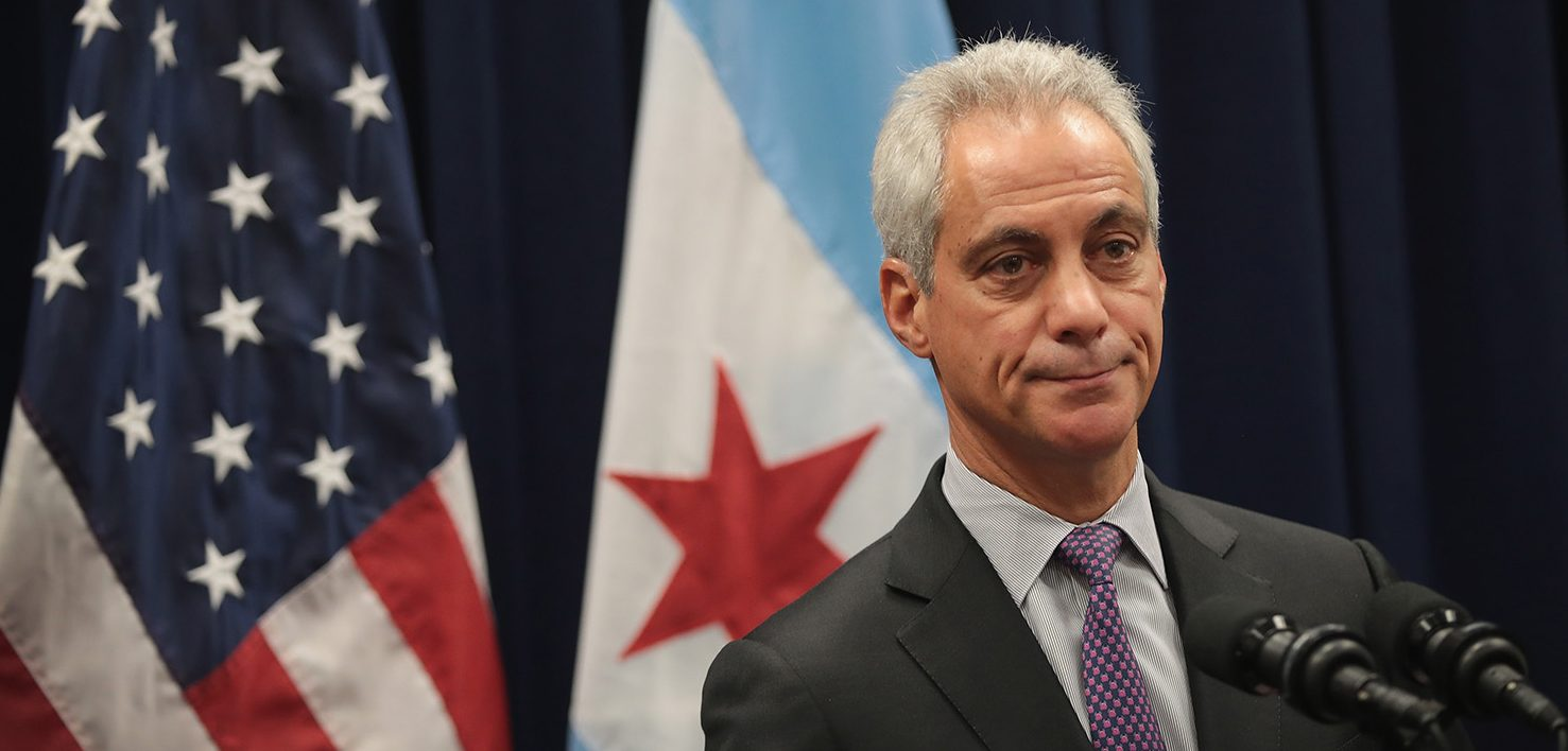 "Chicago Mayor Rahm Emanuel speaks at a press conference where he addressed issues related to the city's murder rate and the city's Sanctuary City policy on January 25, 2017 in Chicago, Illinois. President Donald Trump has threatened to cut federal funding to Sanctuary Cities and has threatened to ""send in the Feds!"" if the mayor cannot get the city's violence under control.  (Photo by Scott Olson/Getty Images)"