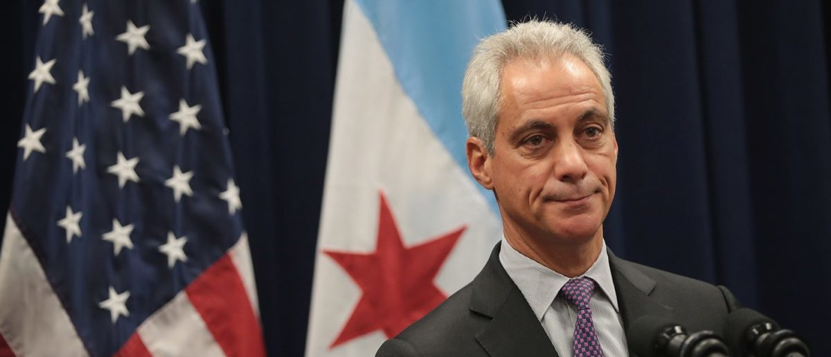 """Chicago Mayor Rahm Emanuel speaks at a press conference where he addressed issues related to the city's murder rate and the city's Sanctuary City policy on January 25, 2017 in Chicago, Illinois. President Donald Trump has threatened to cut federal funding to Sanctuary Cities and has threatened to """"send in the Feds!"""" if the mayor cannot get the city's violence under control. (Photo by Scott Olson/Getty Images)"""