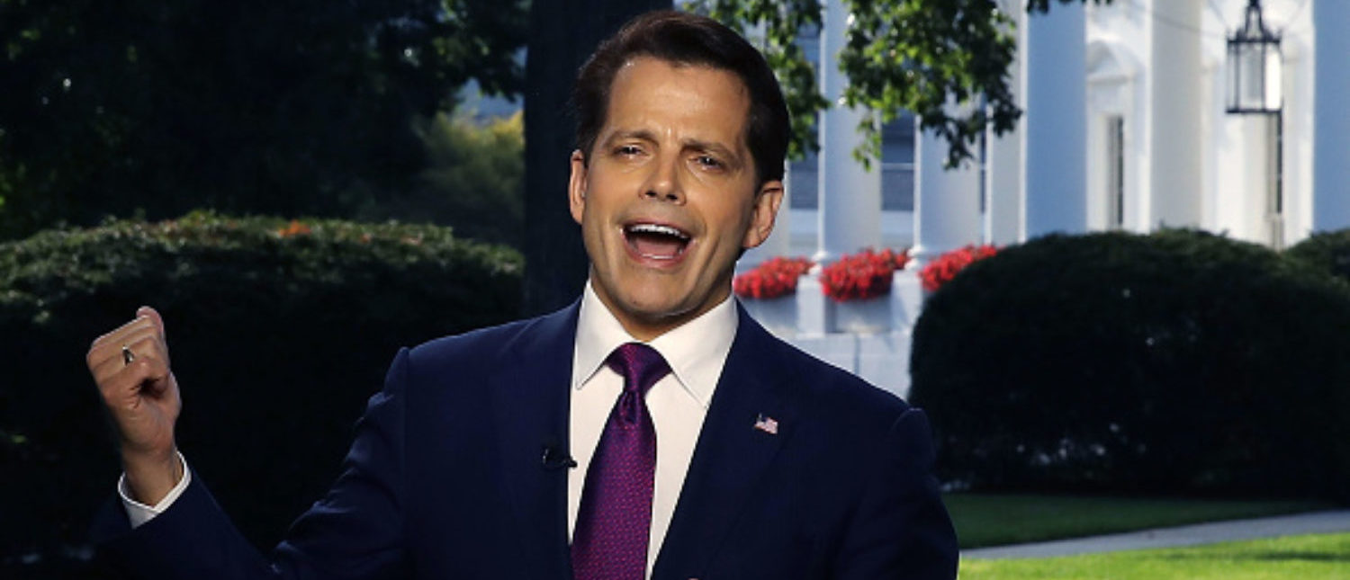 White House communications director Anthony Scaramucci speaks on a morning television show, from the north lawn of the White House on July 26, 2017 in Washington, D.C. (Photo by Mark Wilson/Getty Images)