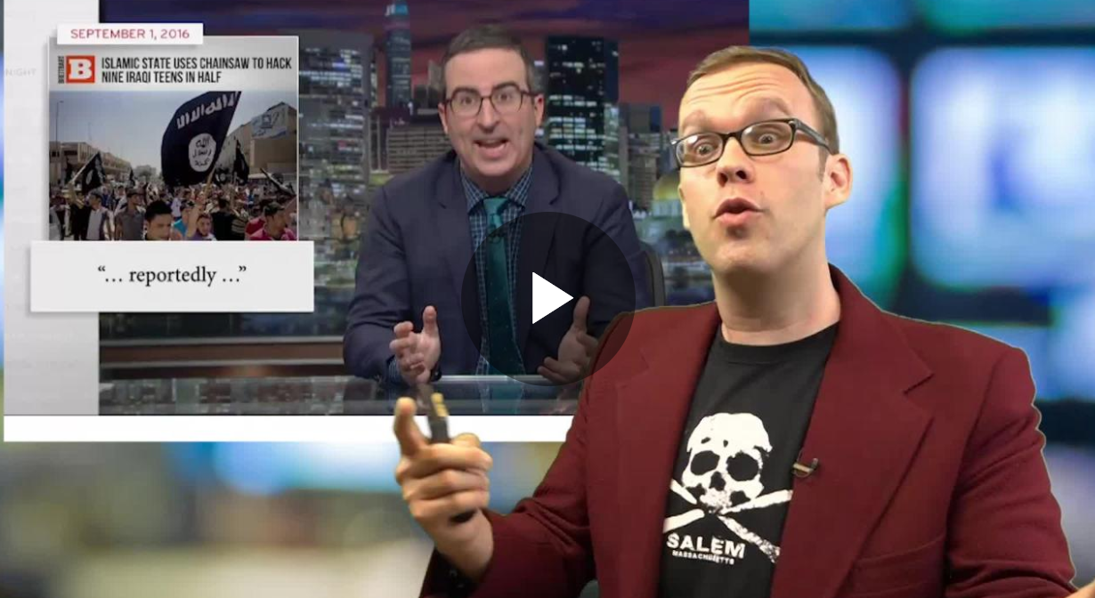 Tim Young on John Oliver (Sean Moody/The Daily Caller News Foundation)