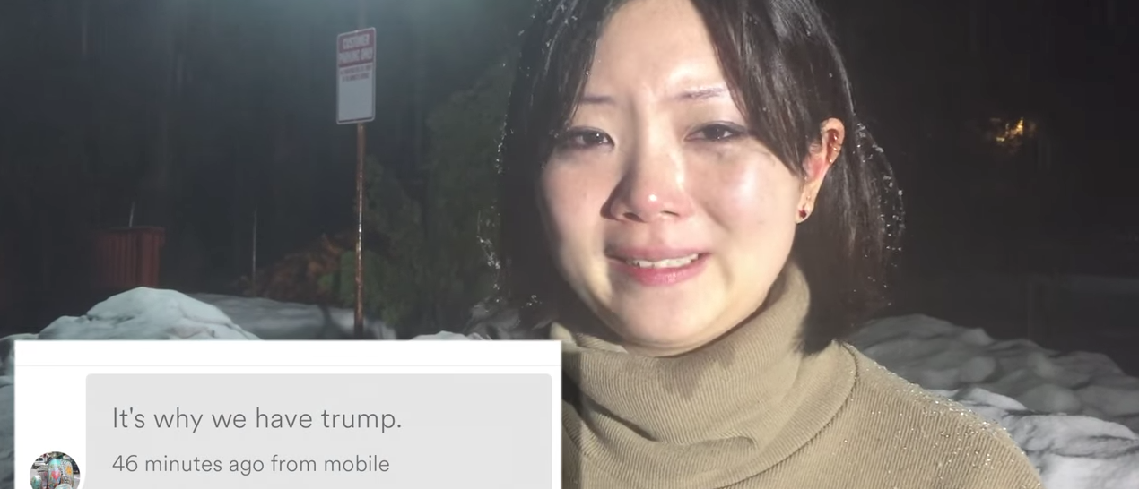 """Trump Supporter Cancels Asian Woman's Airbnb Stay"" [YouTube/Screenshot/Public - User: Hashtag Re-Hash]"