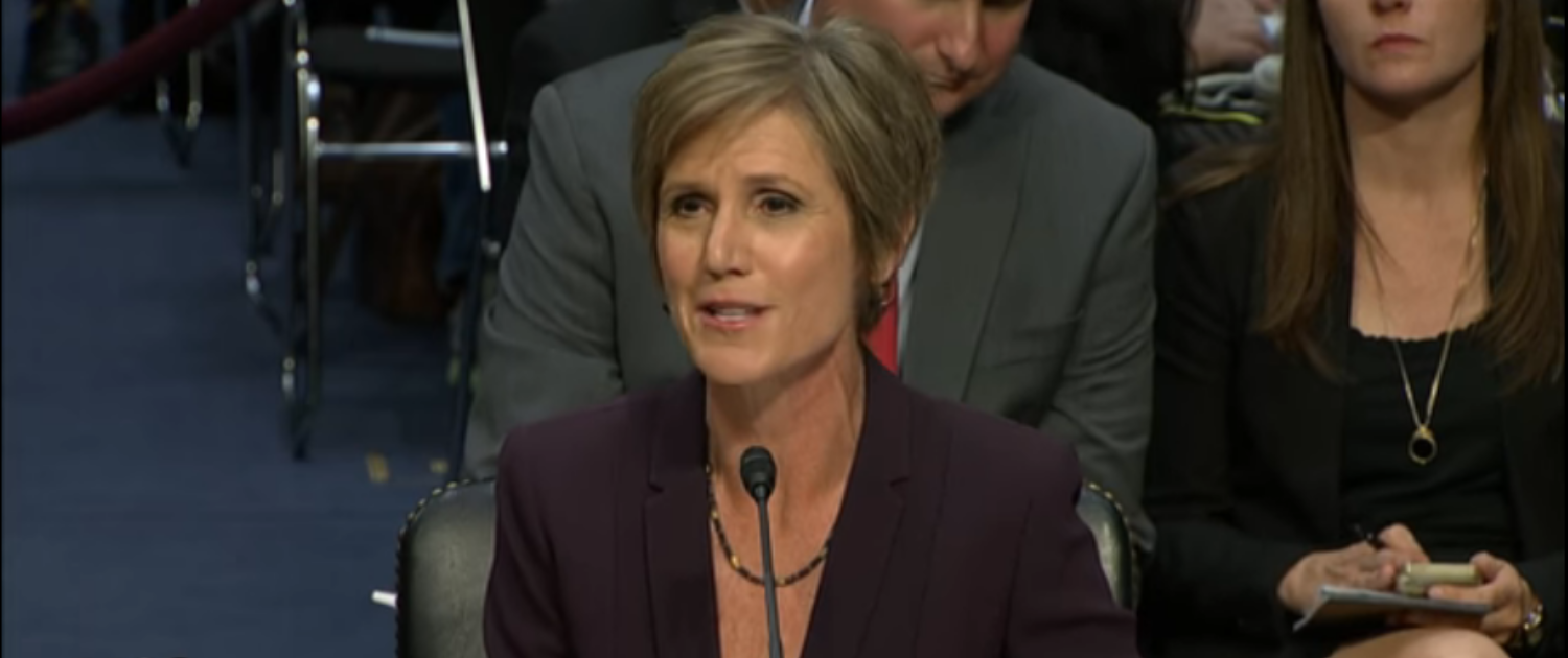 Sally Yates speaks before a Senate panel in May 2017. (Screenshot/PBS NewsHour)