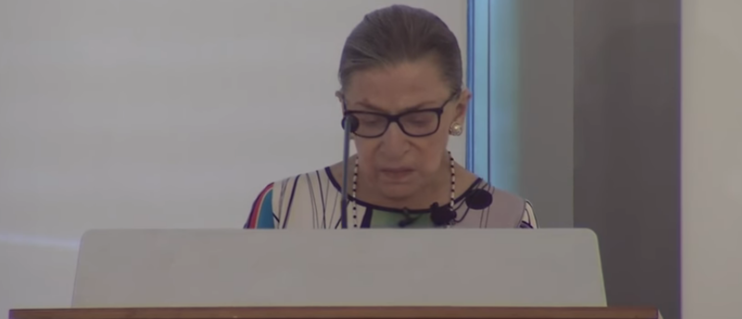 Supreme Court Justice Ruth Bader Ginsburg speaks at Duke University School of Law in July 2017. (Screenshot/Duke University School of Law)