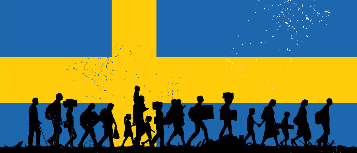 Here is a silhouette of refugees walking with the flag of Sweden. (Photo: Shutterstock)