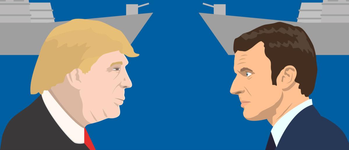 Shutterstock/ June 15, 2017: editorial vector illustration of the French Republic President Emmanuel Macron and the USA President Donald Trump on military forces background. macrontrumpamericaauthoritybackgroundbusinessbusinessmancentristcivildonaldeditorialelectionelyseeemmanueleueuropeeuropeanfaceflagformerfrancefrenchgovernmentillustrationillustrativeindependentinvestmentisolatedleadermagnatemovementpalacepartypolicypoliticalpoliticianpoliticsportraitpresidentpresidentialpro-europeanrepublicanservantstatesunionunitedusawinnerShow more