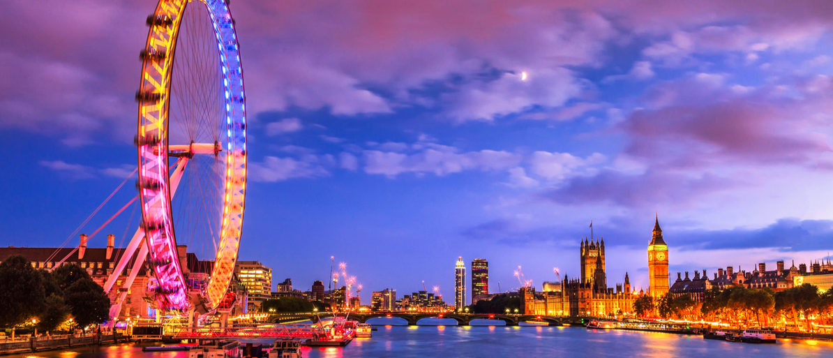 Shutterstock/ London at twilight. London eye, County Hall, Westminster Bridge, Big Ben and Houses of Parliament.