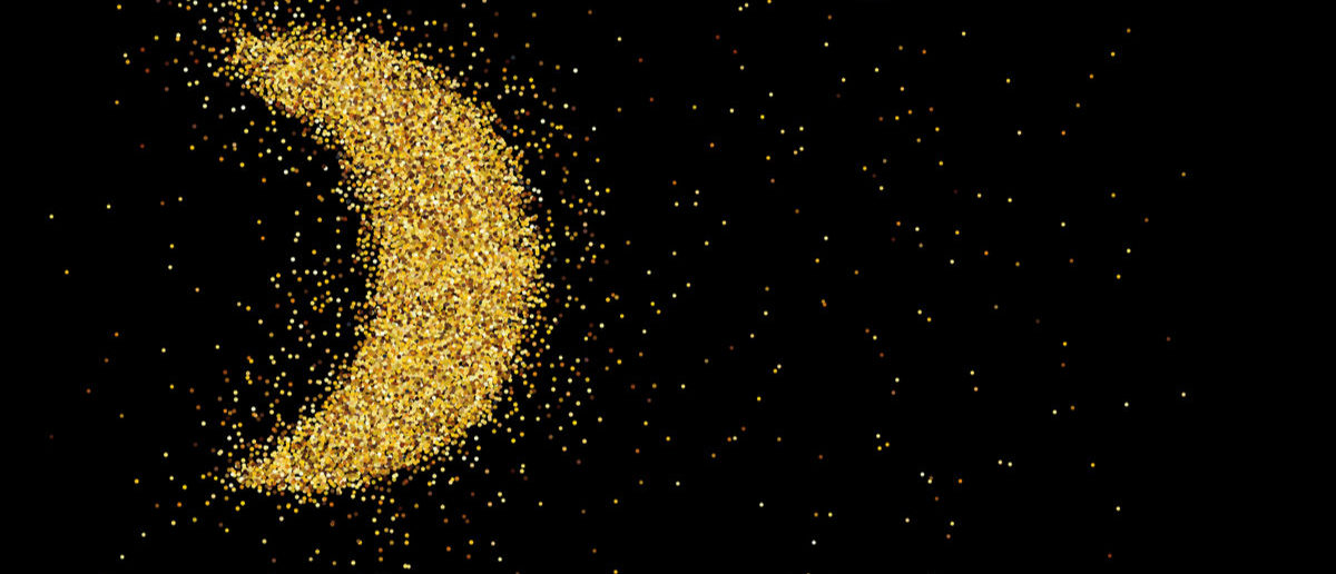 Shutterstock/ Realistic image of scattered golden glitter, sparkling dust in the shape of a crescent moon, shiny blank for cards, art, poster, Vector EPS8
