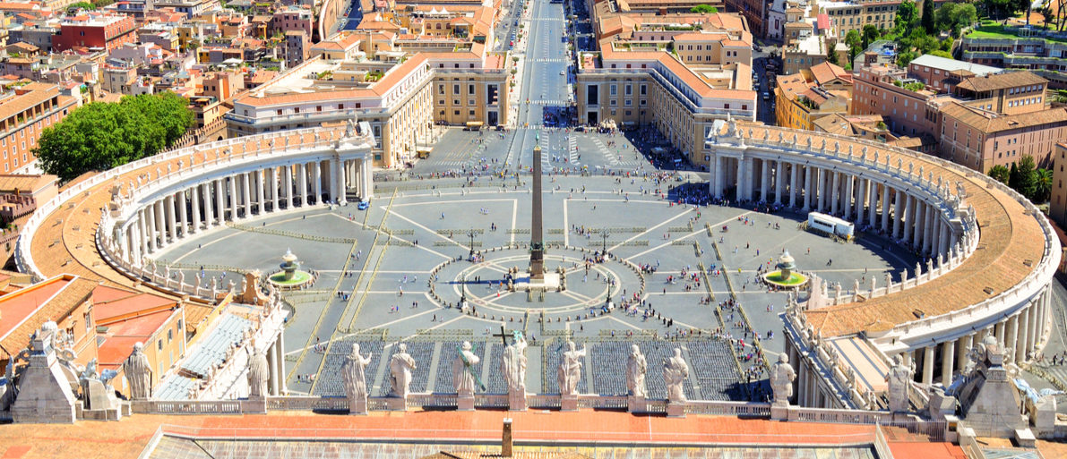 Shutterstock/ St. Peter's Square, Piazza San Pietro in Vatican City. Italy. View from St. Peter's Basilica dome