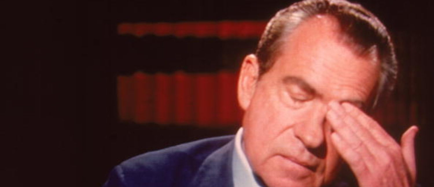 Screen capture of former American President Richard Milhous Nixon (1913 - 1994) rubs his head during an interview on 'Frost On America,' a television program hosted by British newscaster Sir David Frost, Monarch Bay, California, April 1977. (Photo by John Bryson/The LIFE Images Collection/Getty Images)