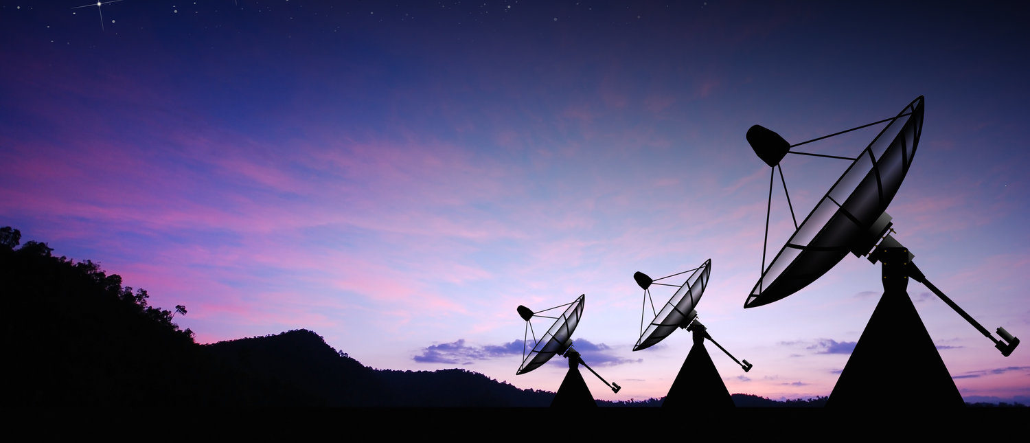 Satellite dish sky sun stars communication technology network image background for design sunset (Shutterstock/Thaiview)