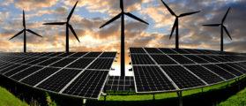 solar energy panels and wind turbine  (Shutterstock/jaroslava V)
