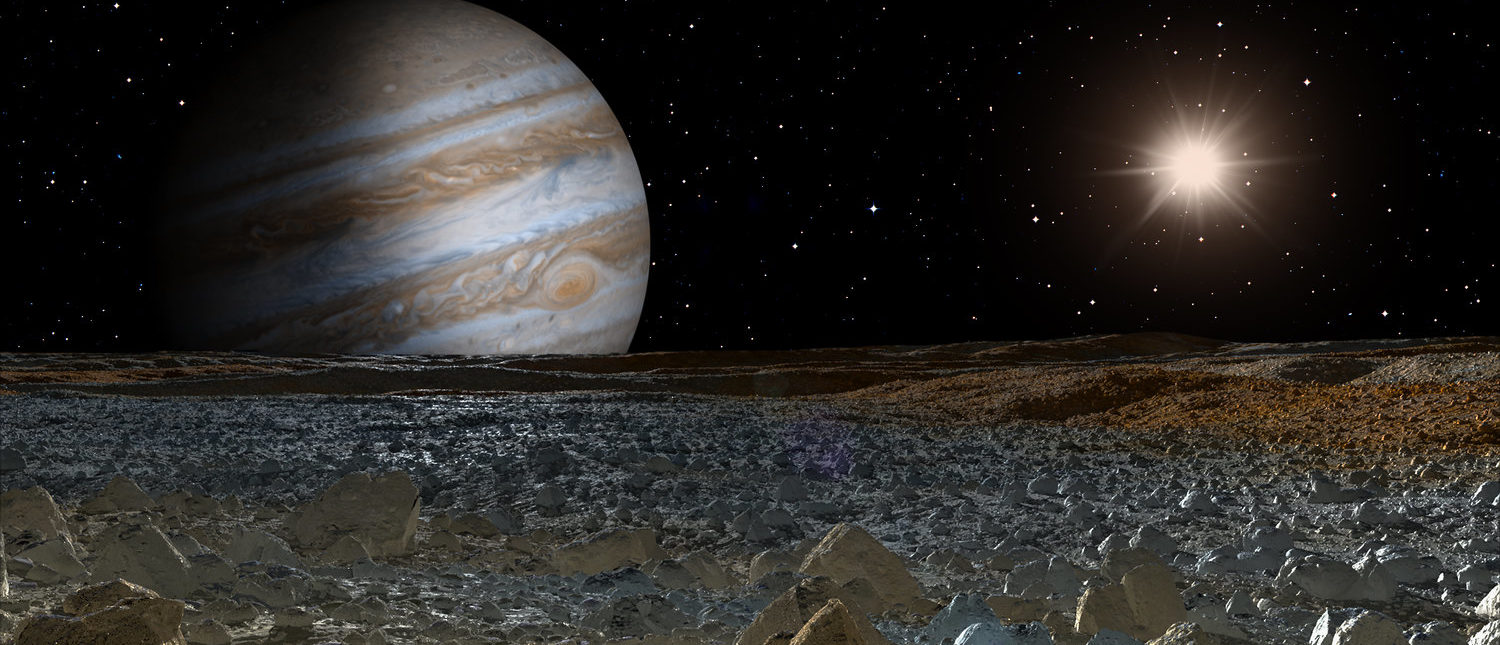 """jupiter and moon europa """" Elements of this image furnished by NASA"""" (Shutterstock/muratart)"""