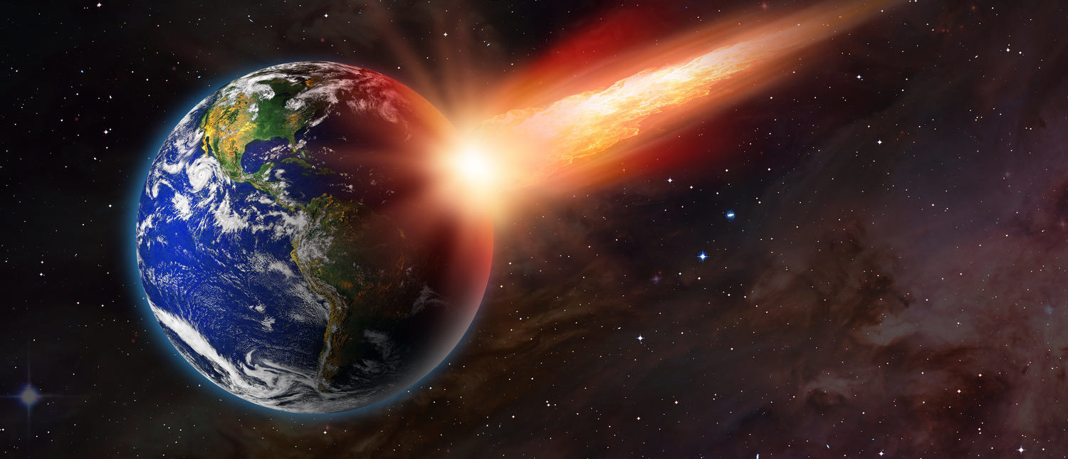 """Attack of the asteroid on the Earth """"Elements of this image furnished by NASA Shutterstock/muratart)"""