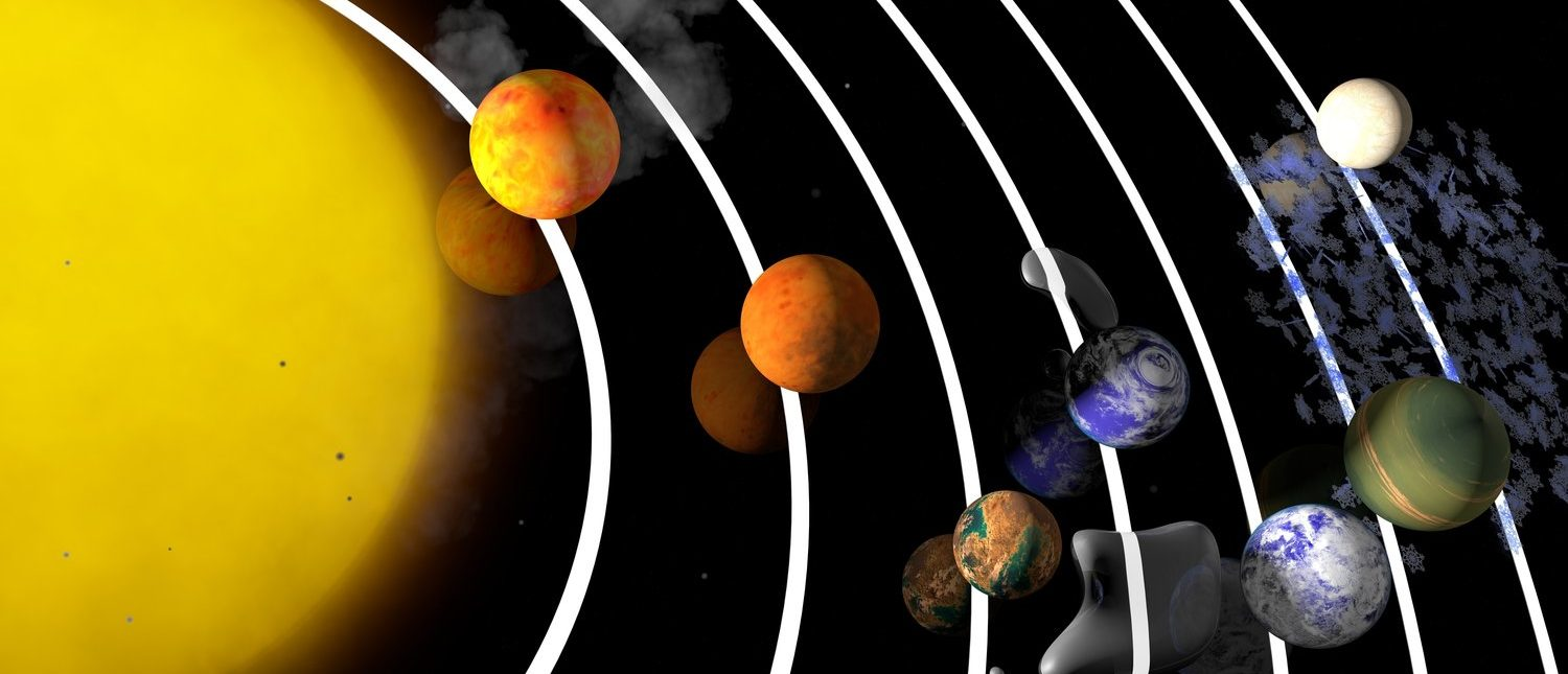 TRAPPIST-1 planetary system. Artist's impression. Seven temperate terrestrial planets. 3D Rendering. Exoplanets (Shutterstock/Angel Soler Gollonet)