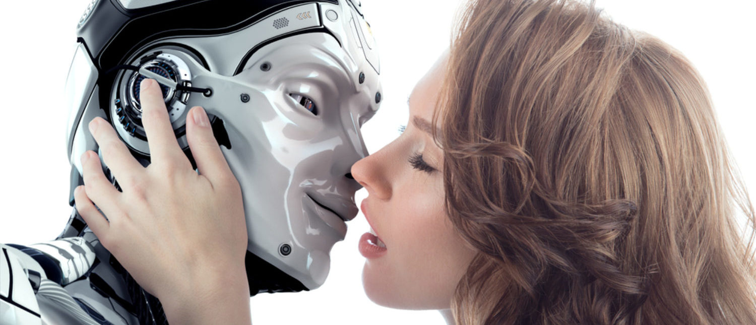 A woman kisses an artificially intelligent robot. [Shutterstock - Willyam Bradberry]