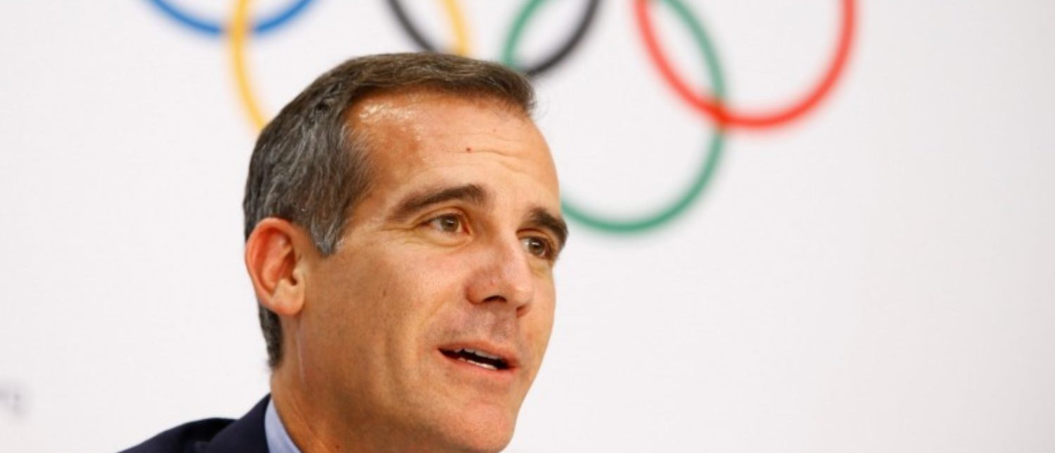 FILE PHOTO: Mayor of Los Angeles Eric Garcetti attends the news conference after the voting during the International Olympic Committee (IOC) extraordinary session in Lausanne, Switzerland, July 11, 2017. REUTERS/Pierre Albouy/File Photo
