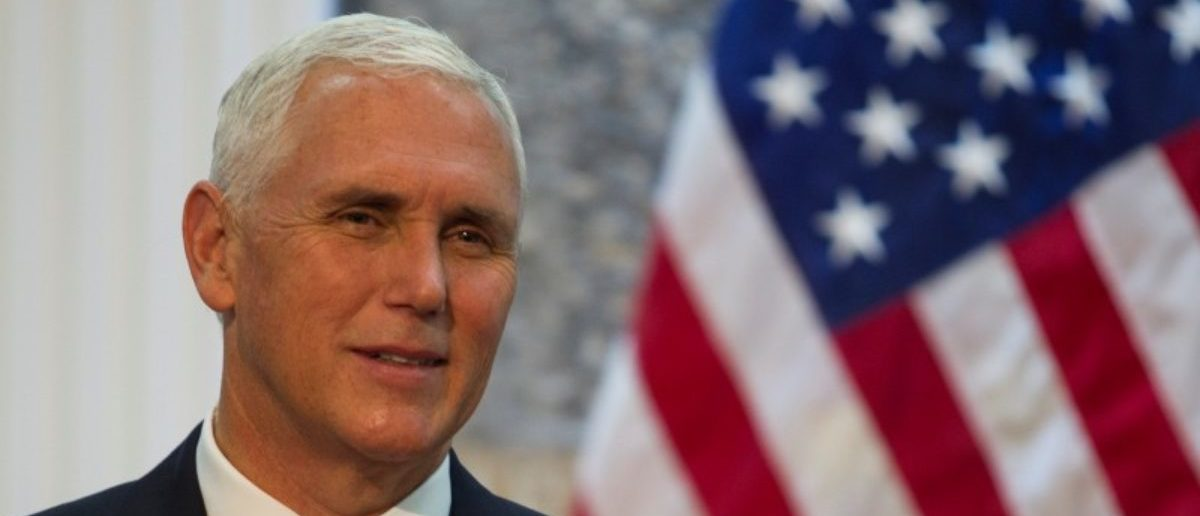 U.S. Vice President Mike Pence smiles during a press conference ahead of a bilateral meeting in Podgorica REUTERS/Stevo Vasiljevic