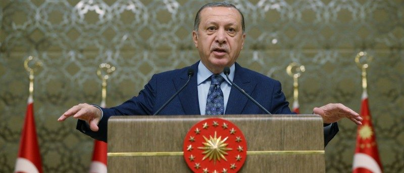 Turkish President Tayyip Erdogan addresses academics during a meeting at the Presidential Palace in Ankara, Turkey July 26, 2017. Murat Cetinmuhurdar/Presidential Palace/Handout via REUTERS