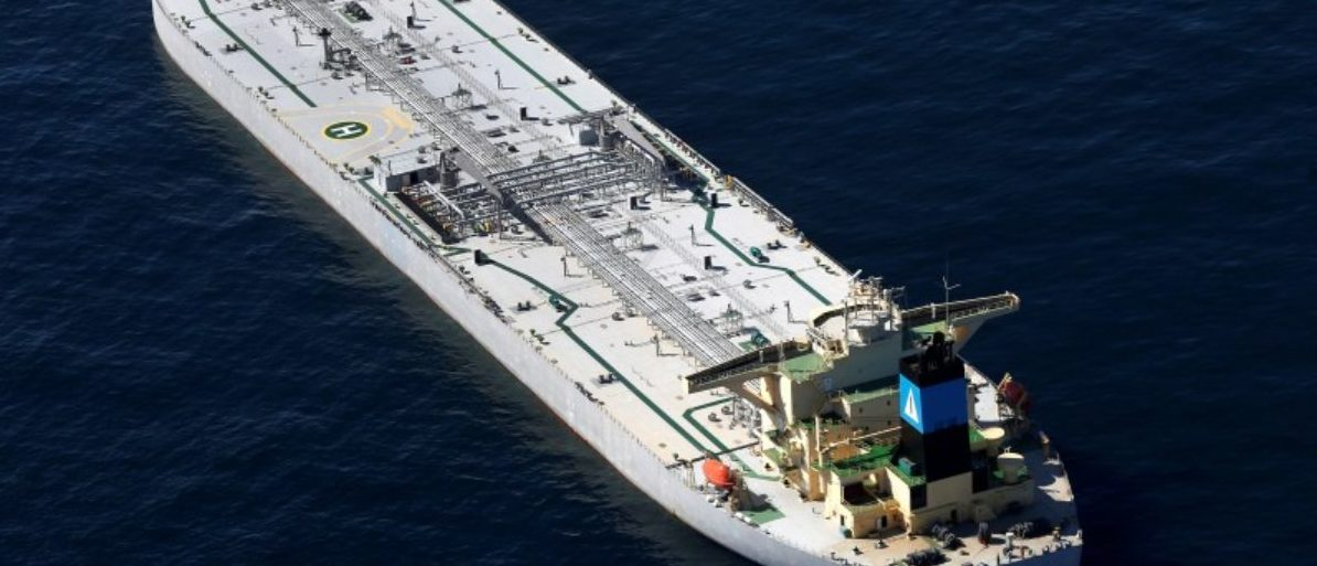 The oil tanker Karvounis lies at anchor stranded off the coast of Louisiana
