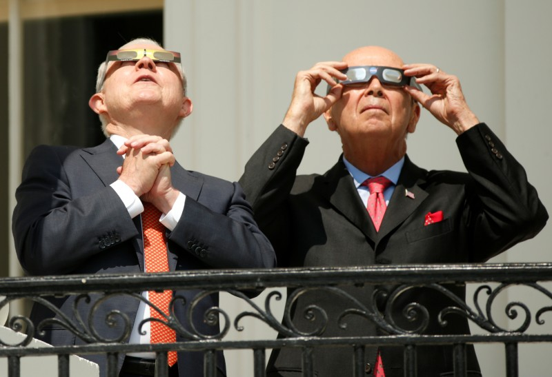 U.S. Attorney General Jeff Sessions (L) and Commerce Secretary Wilbur Ross watch the solar eclipse from the Truman Balcony at the White House in Washington, U.S., August 21, 2017 REUTERS/Kevin Lamarque