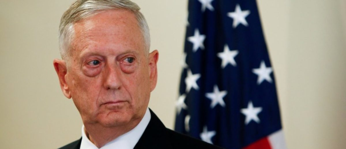 FILE PHOTO: U.S. Defence Minister James N. Mattis is seen during a press conference before the commemoration of the 70th anniversary of the Marshall Plan at the George C. Marshall Center in Garmisch-Partenkirchen, Germany, June 28, 2017. REUTERS/Michaela Rehle/File Photo