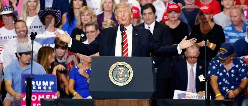 U.S. President Donald Trump speaks at a campaign rally in Phoenix, Arizona, U.S., August 22, 2017.   REUTERS/Joshua Roberts