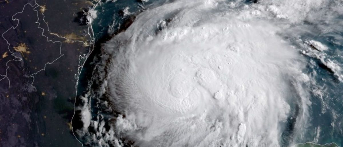 Hurricane Harvey is seen in the Texas Gulf Coast, U.S., in this NOAA GOES satellite image on August 24, 2017. NOAA/Handout via Reuters