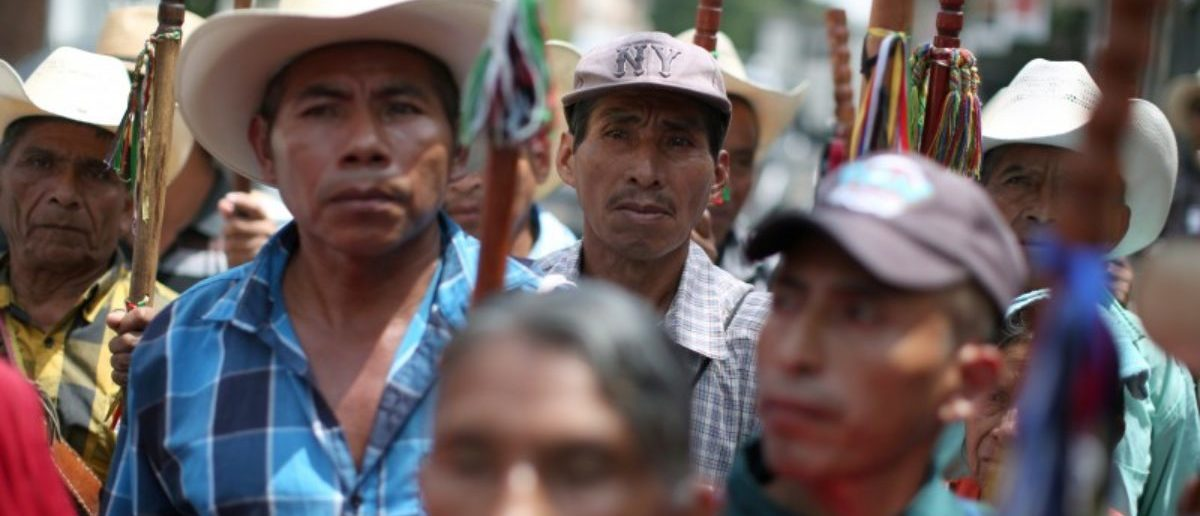 Indigenous leaders participate in a demonstration against of Guatemalan President Jimmy Morales and his decision to expel Ivan Velasquez, head of the International Commission Against Impunity in Guatemala (CICIG) outside the CICIG headquarters in Guatemala City, Guatemala August 29, 2017. REUTERS/Jose Cabezas