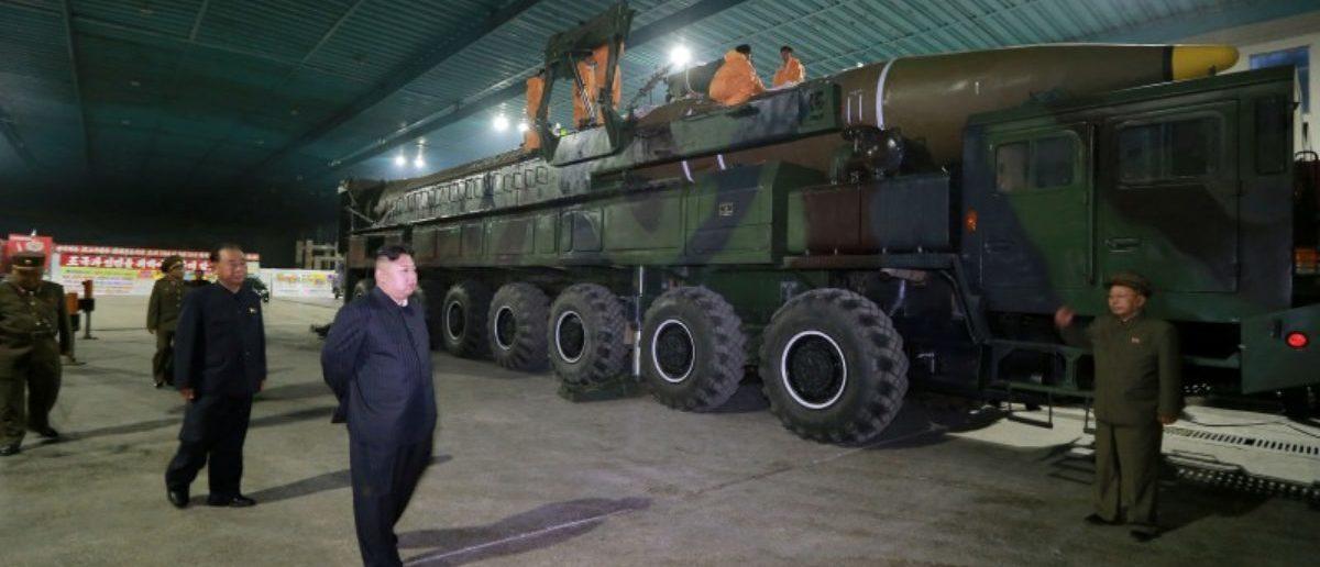 North Korean leader Kim Jong Un inspects the intercontinental ballistic missile Hwasong-14. KCNA/via REUTERS