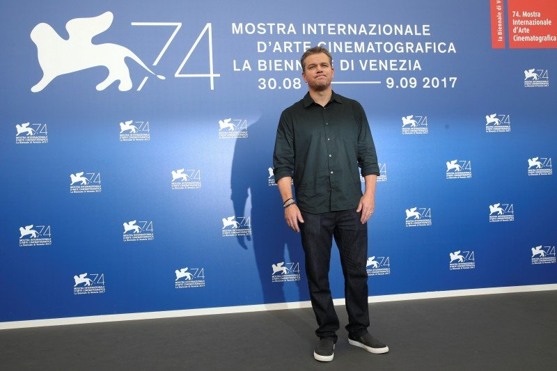 """Actor Matt Damon poses during a photocall for the movie """"Downsizing"""" at the 74th Venice Film Festival in Venice, Italy August 30, 2017. REUTERS/Alessandro Bianchi"""