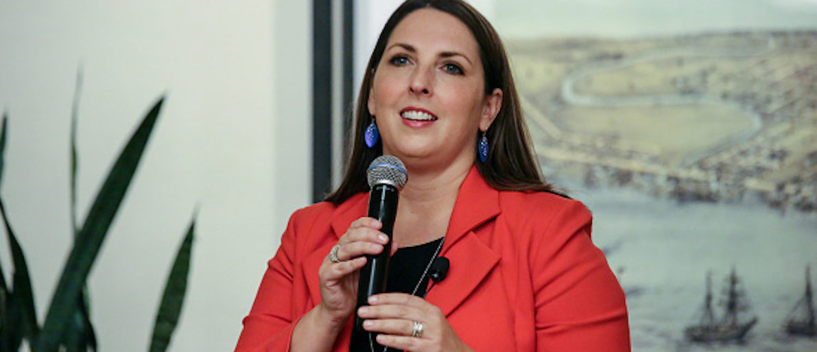 "Ronna Romney McDaniel, then chairwoman of the Michigan Republican Party, leads a panel of Republican women to discuss the topic ""All Issues are Women's Issues,"" at the Sheraton hotel on Sept. 19, 2016 in Novi, Mich. (Kimberly P. Mitchell/Detroit Free Press/TNS via Getty Images)"