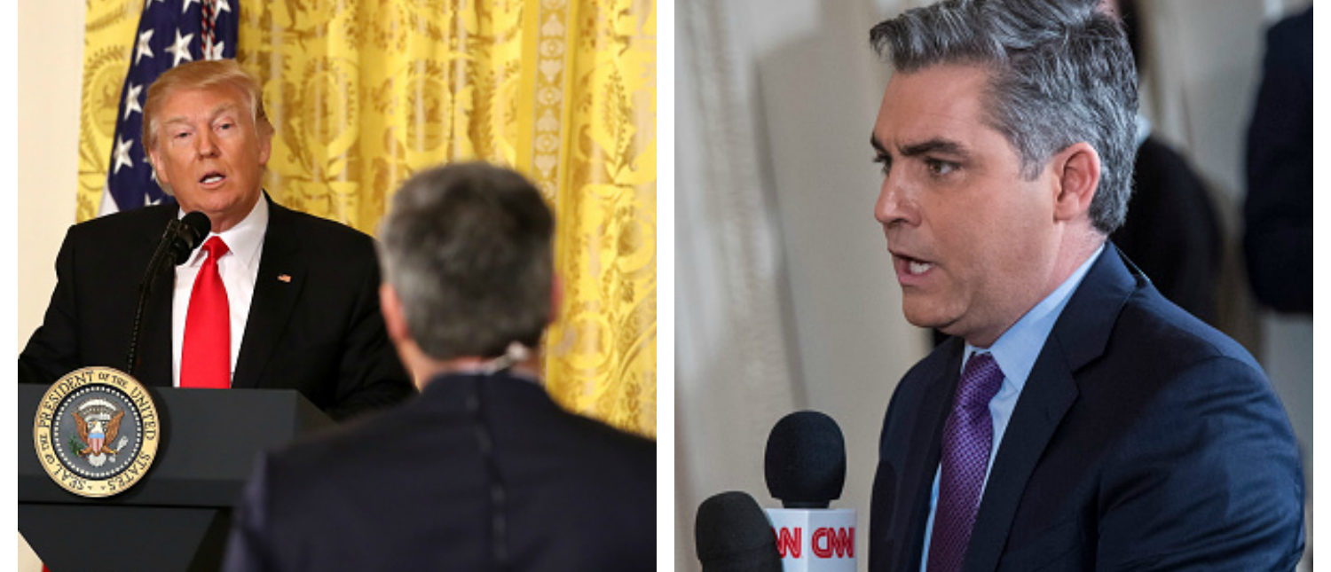 WASHINGTON, DC - FEBRUARY 16: Jim Acosta of CNN asks President Donald Trump a question during a press conference in the East Room of the White House in Washington, DC on Thursday, Feb. 16, 2017. (Photo by Jabin Botsford/The Washington Post via Getty Images