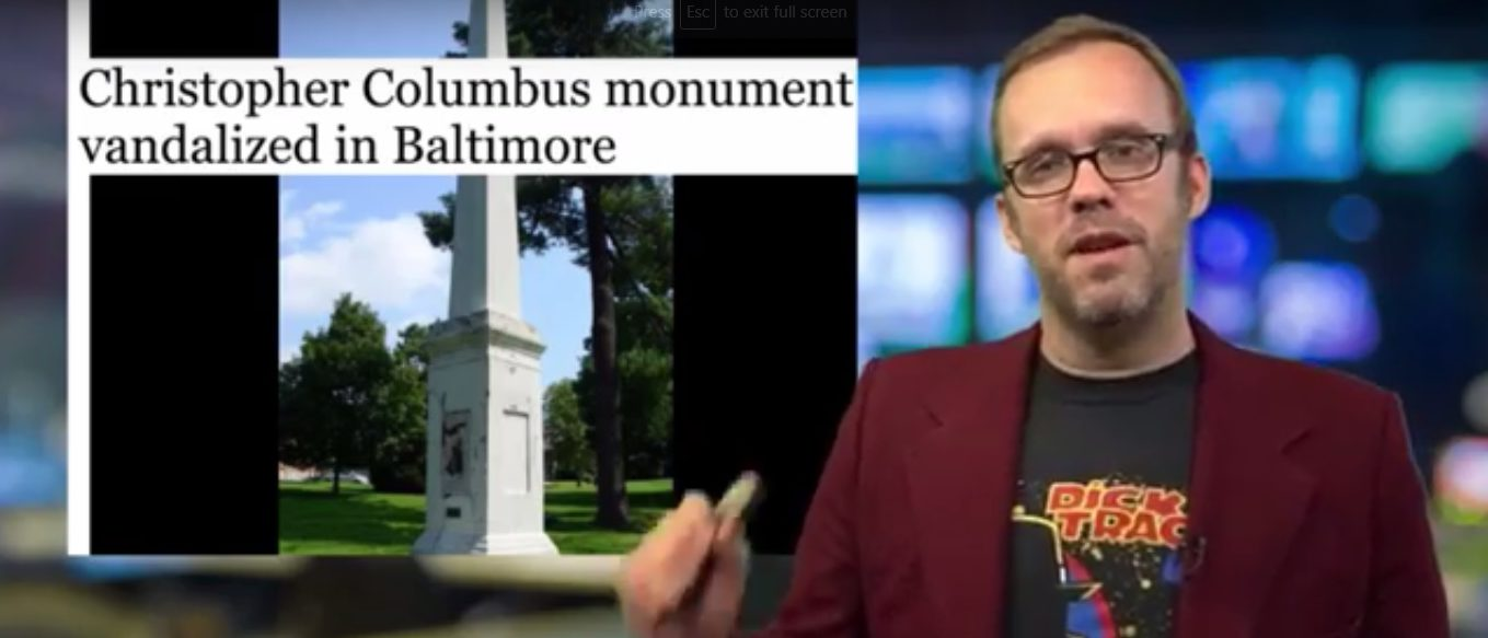 A Christopher Columbus monument was vandalized in Baltimore, Md. (Screen shot)
