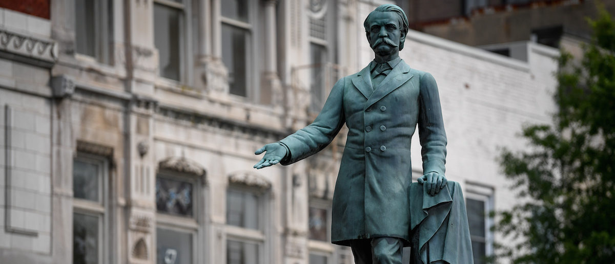 A monument to former U.S. Vice President and Confederate General John Cabell Breckinridge stands outside the Old Courthouse in Lexington, Ky., August 15, 2017. REUTERS/Bryan Woolston