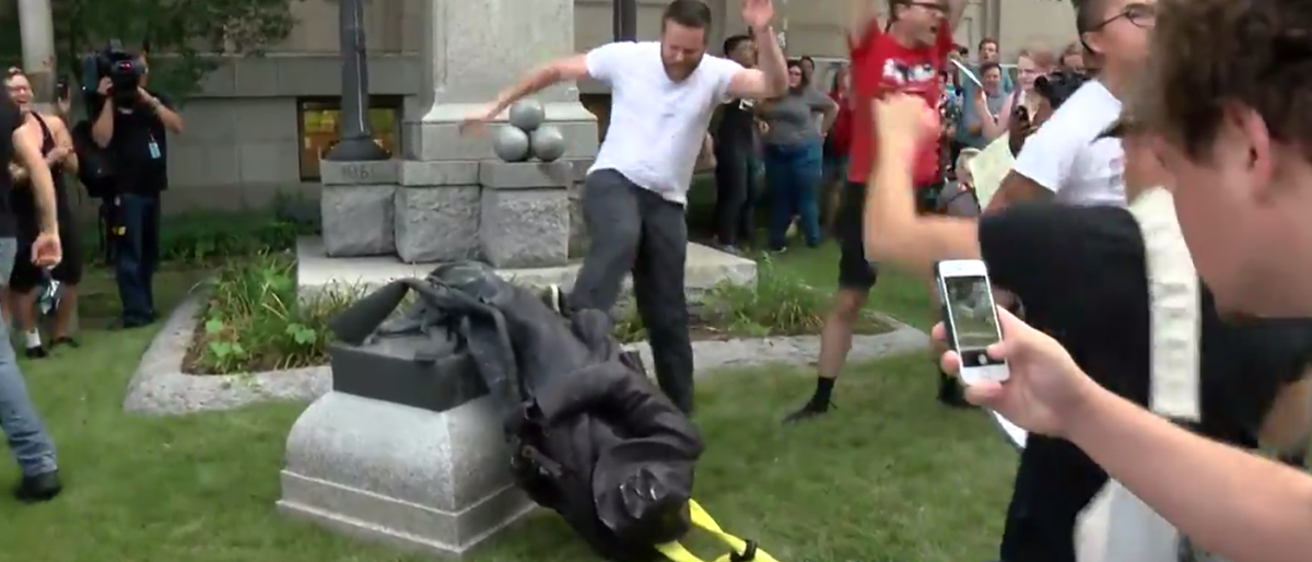 Protesters Tear Down Confederate Statue In Durham, NC (YouTube Screenshot: CBS North Carolina)