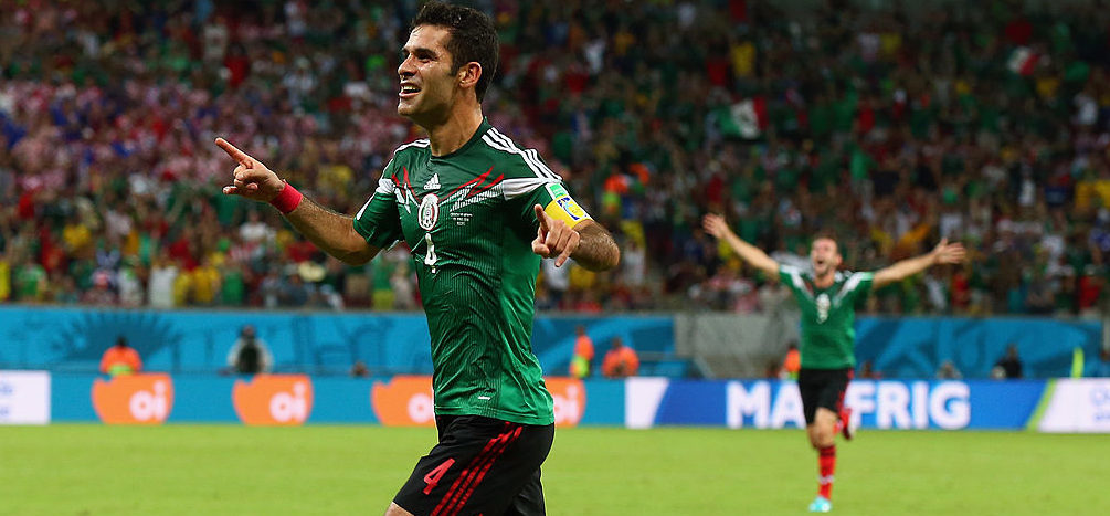 Rafael Marquez of Mexico celebrates scoring his team's first goal during the 2014 FIFA World Cup Brazil Group A match between Croatia and Mexico at Arena Pernambuco on June 23, 2014 in Recife, Brazil. (Photo by Robert Cianflone/Getty Images)