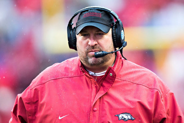 FAYETTEVILLE, AR - NOVEMBER 27: Head Coach Bret Bielema of the Arkansas Razorbacks on the sidelines during a game against the Missouri Tigers at Razorback Stadium Stadium on November 27, 2015 in Fayetteville, Arkansas. The Razorbacks defeated the Tigers 28-3. (Photo by Wesley Hitt/Getty Images)