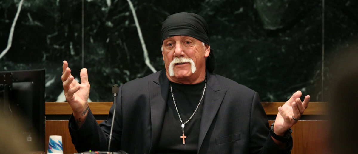 Terry Bollea, aka Hulk Hogan, testifies in court during his trial against Gawker Media at the Pinellas County Courthouse on March 8, 2016 in St Petersburg, Florida. (John Pendygraft-Pool/Getty Images)