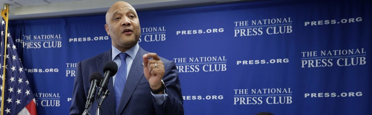 Rep. Andre Carson and Rep. Keith Ellison at the National Press Club. Chip Somodevilla/Getty Images.