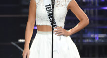 Savannah Chrisley looked flawless in white while being introduced during the 2016 Miss Teen USA Competition. (Photo: Getty Images)