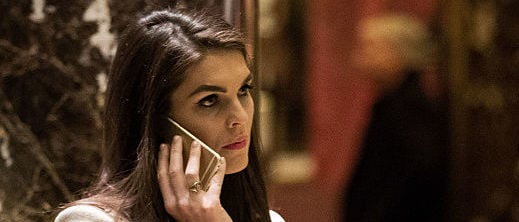 NEW YORK, NY - DECEMBER 12: Trump campaign communications director Hope Hicks talks on her phone in the lobby at Trump Tower, December 12, 2016 in New York City. President-elect Donald Trump and his transition team are in the process of filling cabinet and other high level positions for the new administration. (Photo by Drew Angerer/Getty Images)