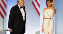 First lady Melania Trump looks elegant in a cream-colored gown at the Freedom Inaugural Ball at the Washington Convention Center January 20, 2017 in Washington, D.C.   (Photo by Aaron P. Bernstein/Getty Images)